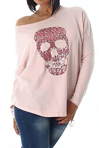 Damen Feinstrick Pullover Pulli Strick Top Langarm Skull Totenkopf Oversize Pallietten Strass Rosa