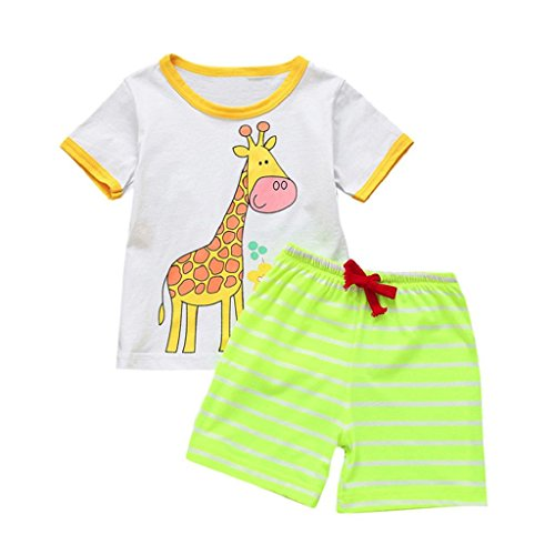 Boys Clothing Sets, SHOBDW Kids Baby Girls Cute Cartoon Tops T-Shirt + Striped Shorts Summer Beach Pajamas School Outfits