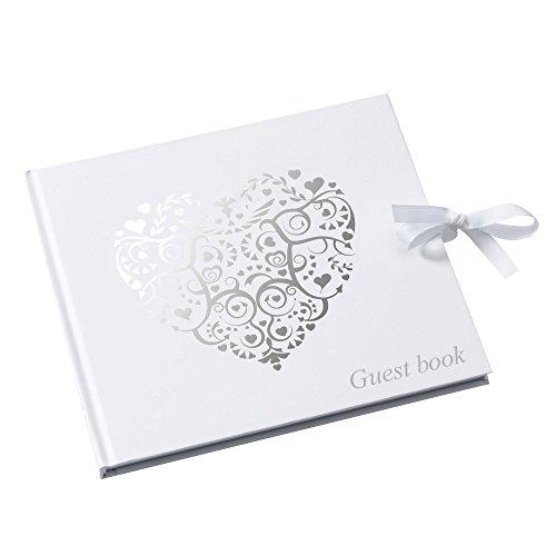 Neviti Vintage Romance Guest Book, Paper, Silver, 22 x 19.5 x 1.5 cm