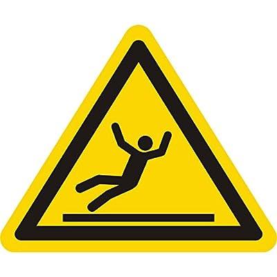 Warnzeichen W011 - Warnung Rutschgefahr - Seitenlänge 100 mm - 100 Warnschilder aus Vinyl Folie, gelb, permanent haftend
