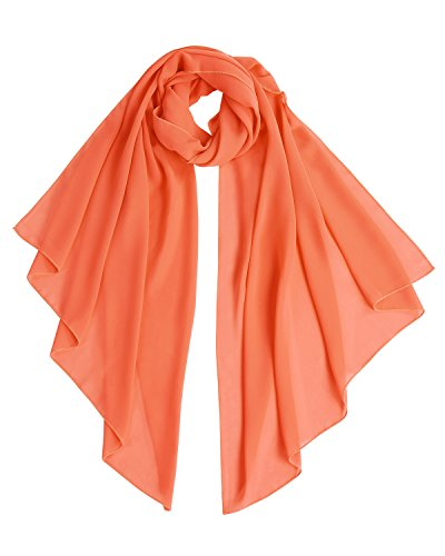 Bridesmay Chiffon Stola Schal für Hochzeit in verschiedenen Farben Orange M 190cm*70cm