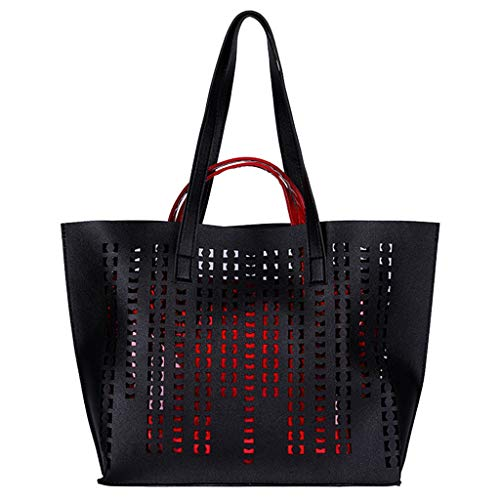 Quaan 2 Stücke Mode Frauen Hohl Einfarbig Umhängetasche Handtasche Tote + Kleine Handtasche