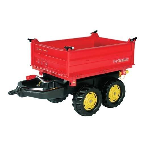 Rolly Toys 123001 rollyMega Trailer   Anhänger in 3 Richtungen kippbar, mit Kurbel und Heckkupplung   Kippanhänger / 2-Achsanhänger für rolly toys Traktoren   ab 3 Jahren   Farbe rot