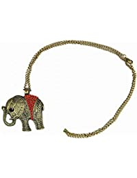 Stone River Jewellery Vintage Bronze Tone Red Crystal Lucky Charm Elephant Necklace Pendant with long chain