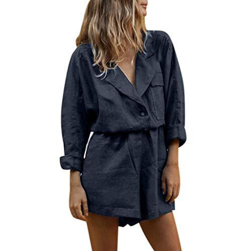TIMEMEAN Jumpsuit Damen Sommer Kurz V-Ausschnitt Baumwolle Revers Taste Slim Fit Temperament Passen Shorts Suit