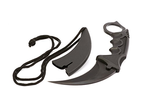 Karambit black Tiger-Tooth - CS Counter Strike - Real Fighter - Full-Tang Freehand Messer in Steckscheide