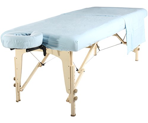 Master Massage liege Flanell Blatt Set 3 in 1 Liegedecke, flache Platte, Gesichts-Kissenbezug Himmelblau -