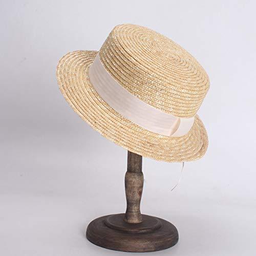 CYRYR Frauen Sommer Weizen Strohhüte Mode Flat Top Boater Hut Frauen Männer Strand Sonnenhüte5CM 5CM