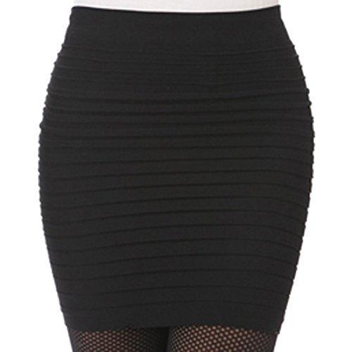 Encounter Femme Jupe Moulante courte taille haute plissée Package Hanche (Noir)