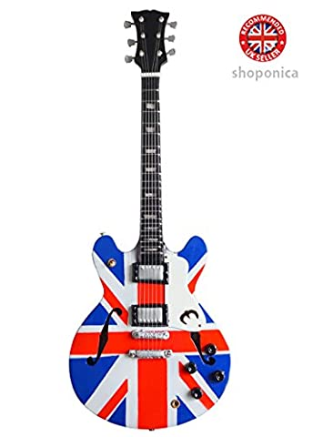 Oasis Guitare miniature en bois Motif Union Jack