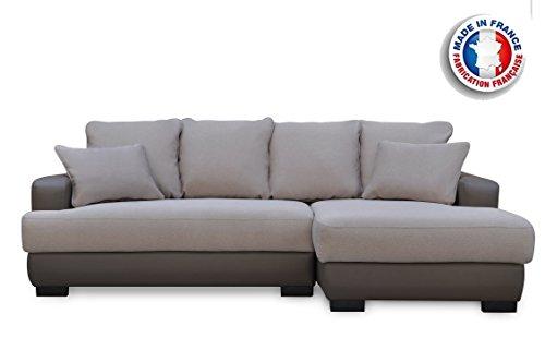 Canapé lit Canapé d'Angle Convertible/Réversible Crème/Marron foncé 233 x 147 x 83 cm,Canapé d'angle Simili Cuir 5 Places