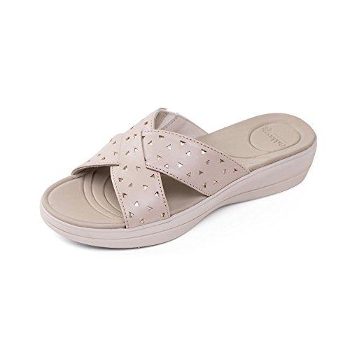 Padders donne di pelle sandalo 'Clara' | Extra grande larghezza di EE | calzascarpe libero Beige Combi