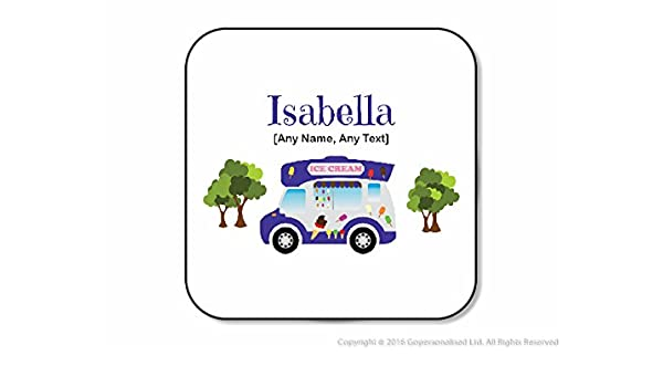 Personalised Gifts - Blue Ice Cream Van Coaster (Square) (A