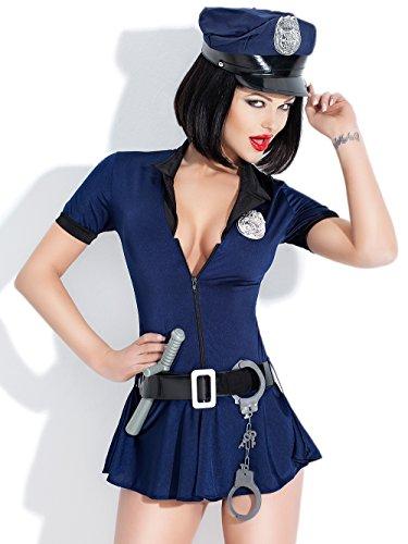 Amazinggirl Polizei sexy Kleid vinyl BODY elastic EXTRA sexy Handschellen Uniform Dienstkleidung (Sex Halloween Kostüme)
