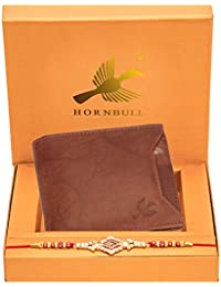 HORNBULL Rakhi Gift Hamper for Brother - Rigohill Men's Leather Wallet and Rakhi Combo Gift Set for Brother