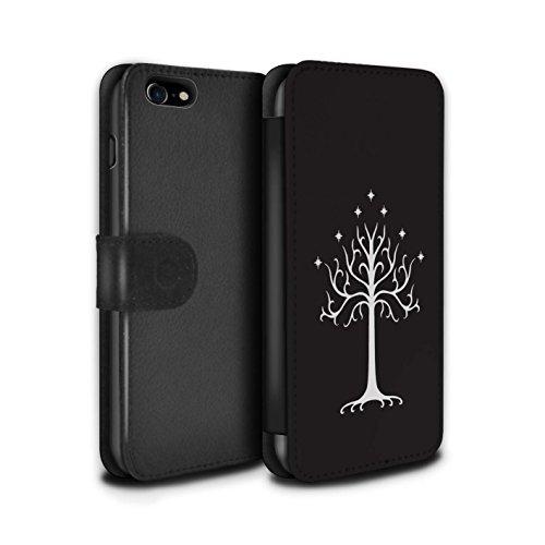 Stuff4® PU-Leder Hülle/Case/Tasche/Cover für Apple iPhone 7 / Weißer Baum Gondor Muster/LOTR Fantasie Inspiriert Kollektion (Iphone-ring-fall)