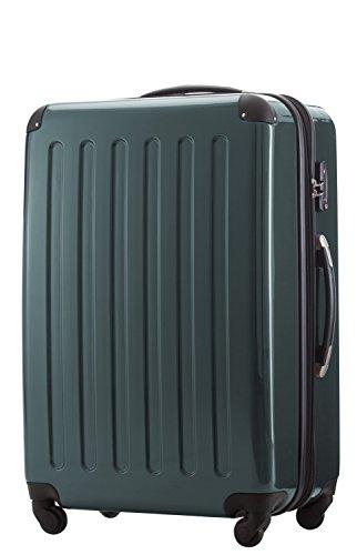 HAUPTSTADTKOFFER® 2er Hartschalen Kofferset · 2x Koffer 119 Liter (75 x 52 x 32 cm) · Hochglanz · TSA Zahlenschloss · CHAMPAGNER Waldgrün
