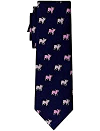 cravate soie pink piglets on navy