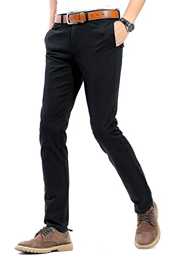 INFLATION Herren Casual Hose Chino Stretch Stoffhose Chinohose Regular Fit MH102 Schwarz 31