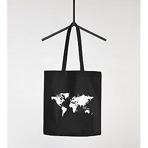 Algodón Funda mapa del mundo World Map Bolsa de tela bolsa bolsa yute algodón Autiga®, Weltkarte Navy, 2 lange Henkel