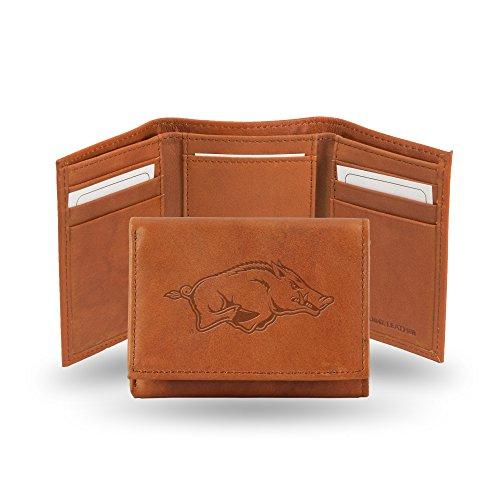 Rico Industries NCAA Alabama Crimson Tide Geldbörse aus geprägtem Leder, dreifach gefaltet, Hellbraun, Damen, Arkansas Razorbacks