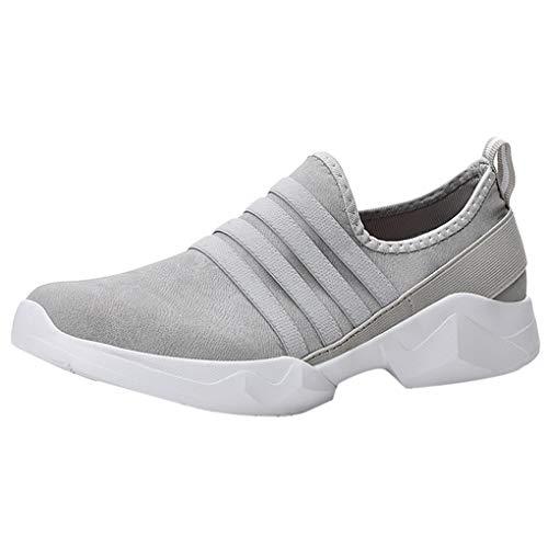 Unisex Sport-Schuhe/Dorical Damen Herren Mesh Slip On Low-Cut Sneakers Walking Outdoor Gym Bequem Leichte Atmungsaktiv Freizeitschuhe Rutschfest Net Schuh Turnschuhe 35-46 EU Reduziert(Grau,43 EU)