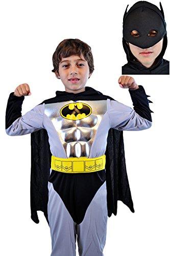 erdbeerloft -Jungen Karneval Komplettkostüm Batman Metallic Muskel Anzug, silber schwarz, 7-8 Jahre (Muskel Schwarzer Spider Man Kostüme)