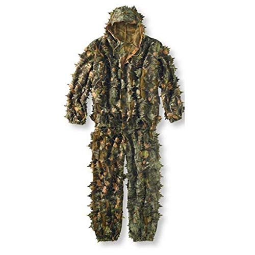 Kongqiabona Lifelike 3D Leaves Camouflage Poncho Cloak Stealth Suits Outdoor Woodland CS Game Clothing Universal for Hunting Shooting Free People-poncho