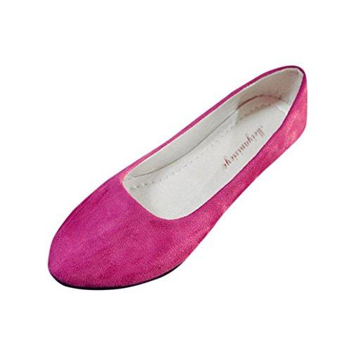 FNKDOR Damen Geschlossene Ballerinas Klassische Flache Elegant Schuhe(40,Rosa)