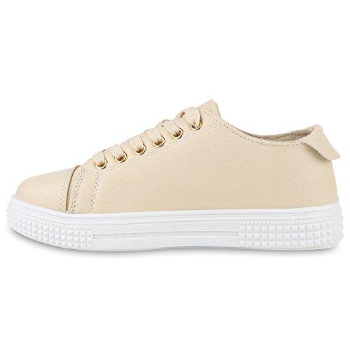 Damen Sneakers Basic Sportschuhe Schnürer Lederoptik Schuhe Creme Sticker