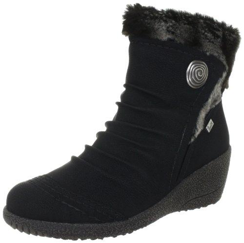 Rieker Y0363, Damen Kurzschaft Stiefel, Schwarz (schwarz/granit / 01), 40 EU (6.5 Damen UK) (Stiefel Pelz-trim)