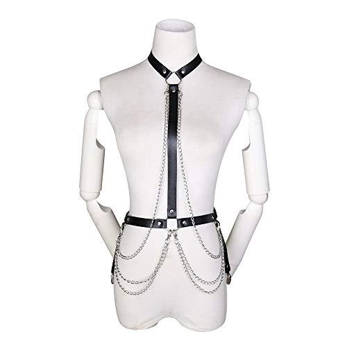 Imbracatura da donna clubwear cosplay costume della biancheria e giarrettiera punk cintura di catena di metallo al collo appesa corpo in pelle pettorale regolabile fibbia per la vita quotidiana