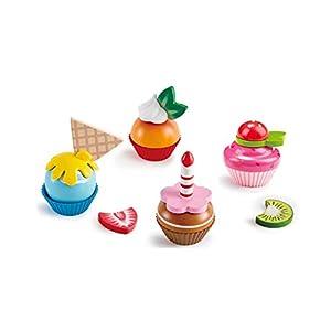 Hape- Cupcakes de Madera, Color carbón (E3157)