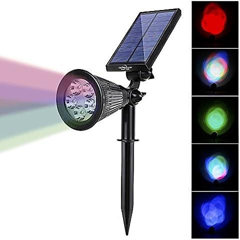 Solar Spotlight Lights, 2-in-1 Wasserdicht 5 RGB LED Solar Spotlight