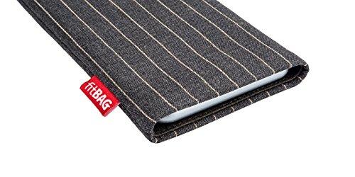 fitBAG Rock Weiß Handytasche Tasche aus Textil-Stoff mit Microfaserinnenfutter für Apple iPhone 3Gs 16GB 16 GB Twist Grau