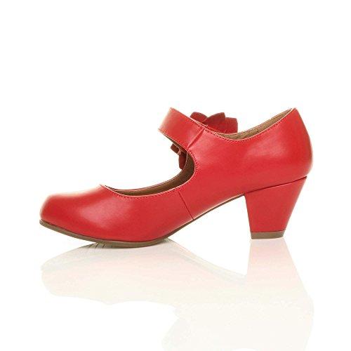 Donna tacco medio Mary Jane pelle foderata comodoa décolleté scarpette taglia Rosso