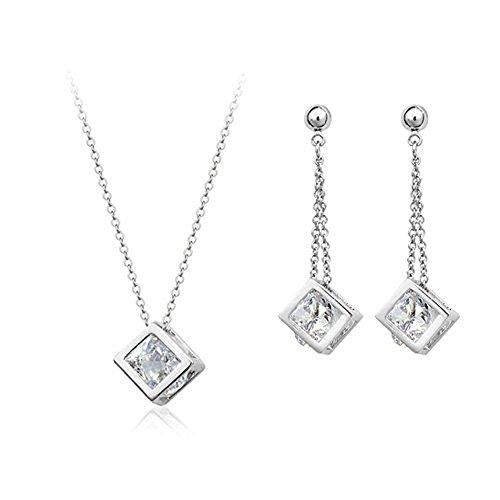 Galaxy Jewellery Swarovski Elements Conjunto de joyería bañado en oro blanco 18K cristal diamante