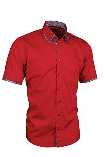 Giorgio Capone Herrenhemd, 100% Baumwolle, rot, Doppelkragen mit schwarz-weißen Akzenten, Kurzarm, Slim/Normal & Regular-Plus Fit (XL Regular-Plus mit Brusttasche) -