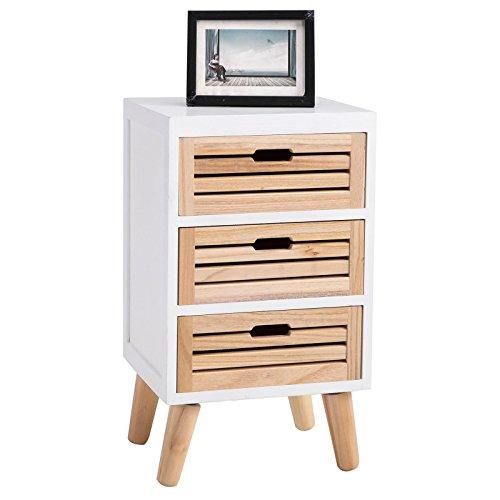 CARO-Möbel Nachttisch ESTORIL Nachtkommode Nachtkonsole für Boxspringbett in weiß skandinavisches Design, 3 Schubladen Vintage retro