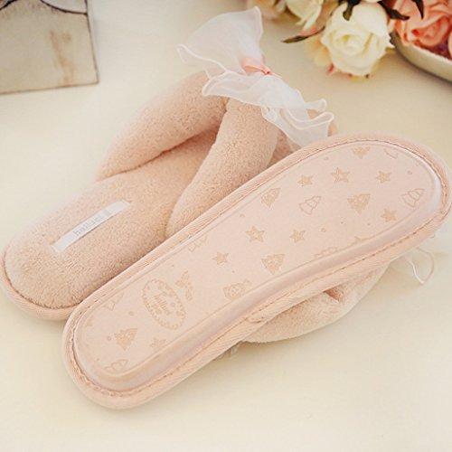 Fortuning's JDS Le donne delle ragazze delle signore del filato arco Casa pantofole di velluto Infradito flatform aperto Sandali dita dei Rosa