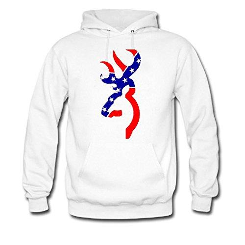 HGLee Printed DIY Custom Browning Deer Women's Hoodie Hooded Sweatshirt White--2