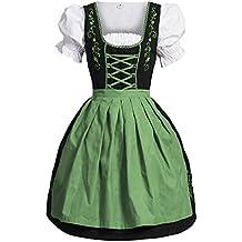 Dirndl 3 pezzi, vestito Dirndl, camicia, gonna, formato 34-46 nero / verde