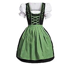 Idea Regalo - Dirndl 3 pezzi, vestito Dirndl, camicia, gonna, formato 34-46 nero / verde 34