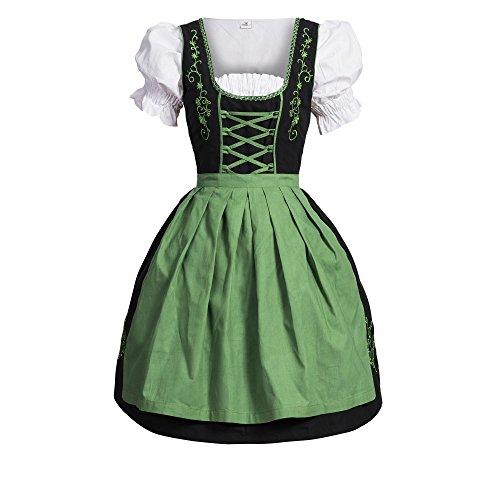Dirndl 3 pezzi, vestito Dirndl, camicia, gonna, formato 34-46 nero / verde 36