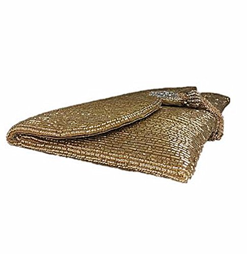 KAFEI Damen Handmade Evening Bag Handtasche Perlen Party, Silber Gold