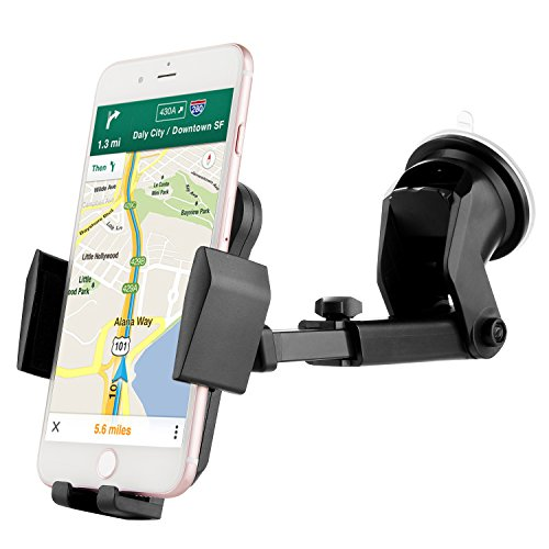 Price comparison product image Car Phone Holder, Invool Universal Windshield Dashboard Car Phone Mount Cradle with Extendable Arm for iPhone 7 7 Plus 6S 6 5S 5C, Samsung Galaxy S8 S7 S6 Note 5 4 HTC, Nokia, LG, Huawei and Other Mobile Phone
