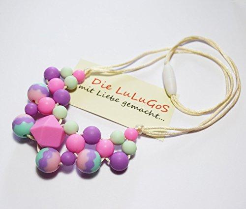 Image of Stillkette Halskette Beißkette aus Silikon für Mama und Baby Mamakette zahnen BPA free rosa lila türkis beige