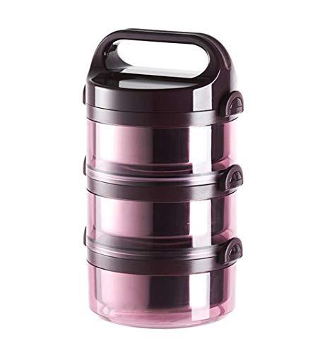 FEILING Boîte Alimentaire Ronde Bol Isothermes Conteneur de Repas Portable en Acier Inoxydable,3 Couches,Pink