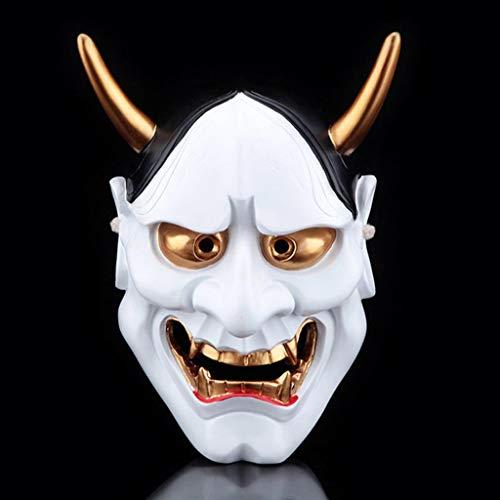 ske für Erwachsene, japanische Krieger Geist Kopf dekorative Maske (Farbe : Weiß) ()