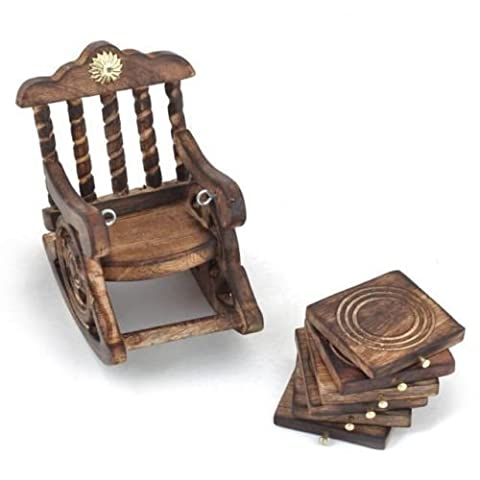 Wooden Rocking Chair Stand Drink Coster,by Affaires Suitable for Wine